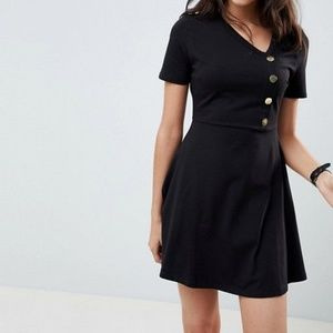 ASOS Black Mini Skater Dress with Button Front